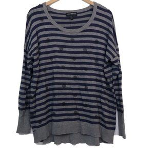 LANE BRYANT Dotted Striped Navy Blue Gray Sweater